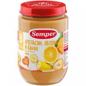 Пюре  апельсин-яблоко-банан с 6 месяцев, 190 г Semper