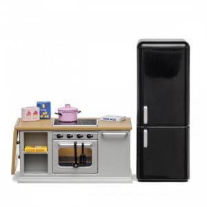 Набор мебели для домика Кухонный остров и холодильник Lundby