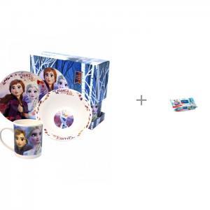 Набор посуды из фарфора Frozen II и Влажные салфетки Aura 120 шт. ND Play
