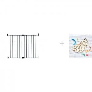 Ворота безопасности 64-99.5 см и нагрудник Mjolk двусторонний Лошадки Safe&Care