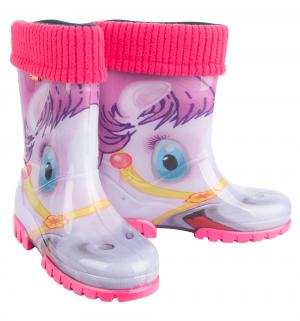 Резиновые сапоги  Пони, цвет: розовый Demar