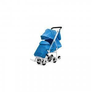 Санки-коляска  Зимняя Сказка 2 Люкс, белая рама, голубой/зоопарк ABC Academy. Цвет: голубой
