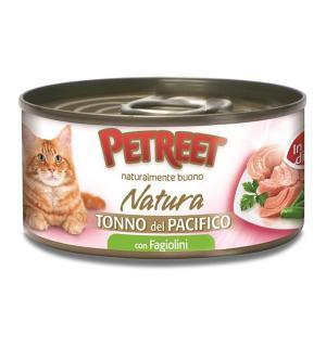 Влажный корм  для взрослых кошек, кусочки тихоокеанского тунца с зеленой фасолью в рыбном бульоне, 70г Petreet