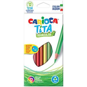 Набор цветных карандашей  Tita трёхгранные, 12 цветов Carioca. Цвет: белый