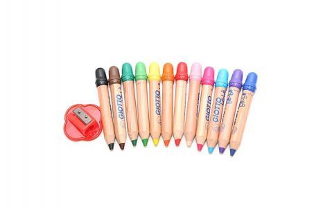 Деревянные карандаши be-be Super Largepencils с точилкой 12 цветов Giotto