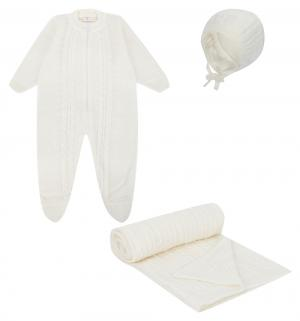 Комплект кофта/распашонка/полукомбинезон/шапка  МиМиМи, цвет: молочный Уси-Пуси