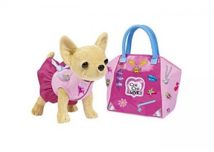 Мягкая игрушка  собачка Чихуахуа с сумочкой и набором для декорирования 20 см Chi-Chi Love