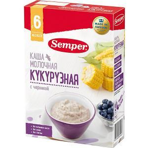 Сухая молочная каша  кукурузная с черникой, 6 мес, 200 г Semper