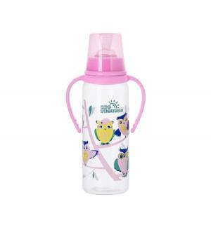 Бутылочка  Совы С ручками полипропилен 6 мес, 250 мл, цвет: розовый Мир Детства