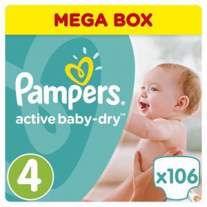 Подгузники  Active Baby-Dry 4 размер (7-14 кг) 106 шт. Pampers
