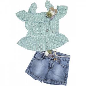 Комплект для девочки футболка, шорты, пояс 3425 Baby Rose