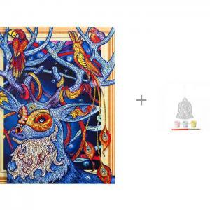Алмазная картина с фигурными стразами Сказочный олень и  комплект для творчества Колокольчик Bondibon Color Kit